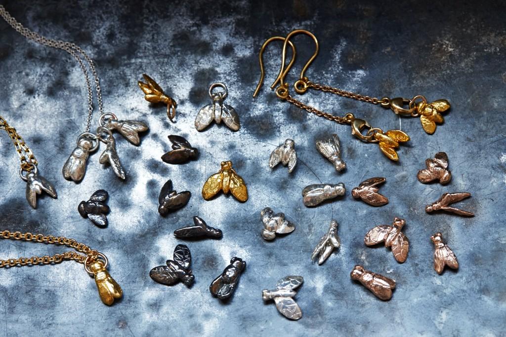 _Egyptian_Flies_group_14KRose_Gold_SS_Bronze_w_Blk_patina_SSw_14Kyellow_gold_dip